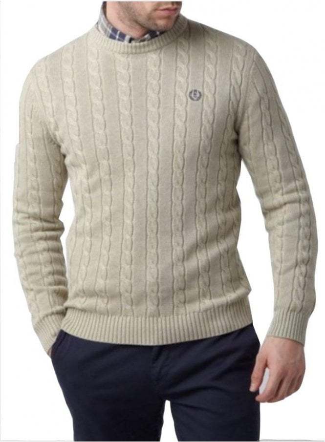 HENRI LLOYD Kramer Regular Crew Neck Cable Knit Sw Beige