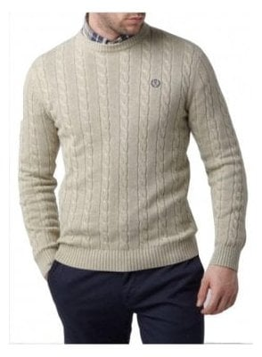 Kramer Regular Crew Neck Cable Knit Sw Beige