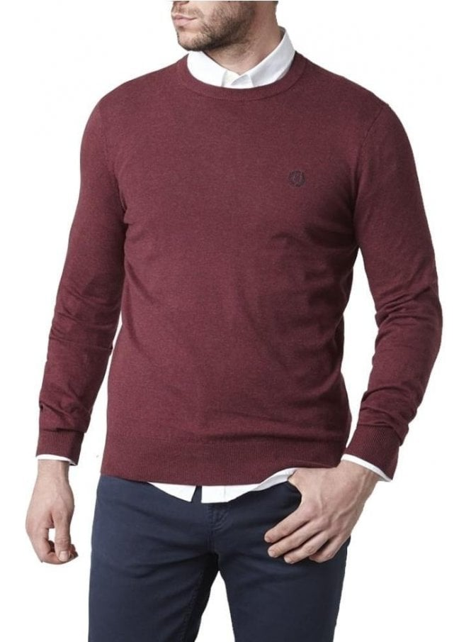 HENRI LLOYD Miller Regular Crew Neck Knitwear Fine Burgundy