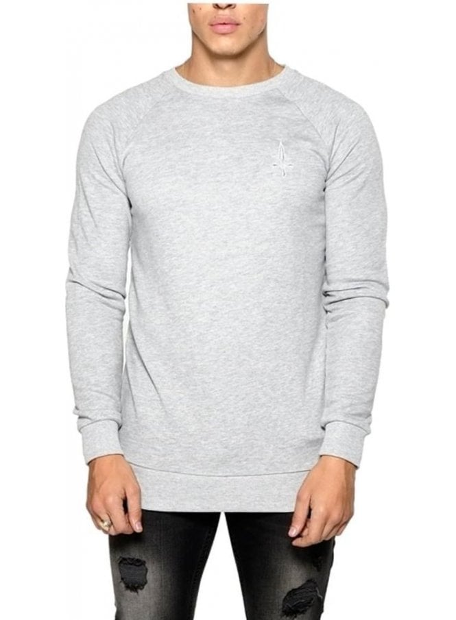 JUDAS SINNED Basic Crew Neck Sweater Grey Marl