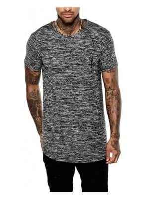 Curved Hem Crew Neck Tshirt Black