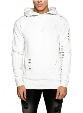 Distressed Core Panel Hoodie Top Pebble