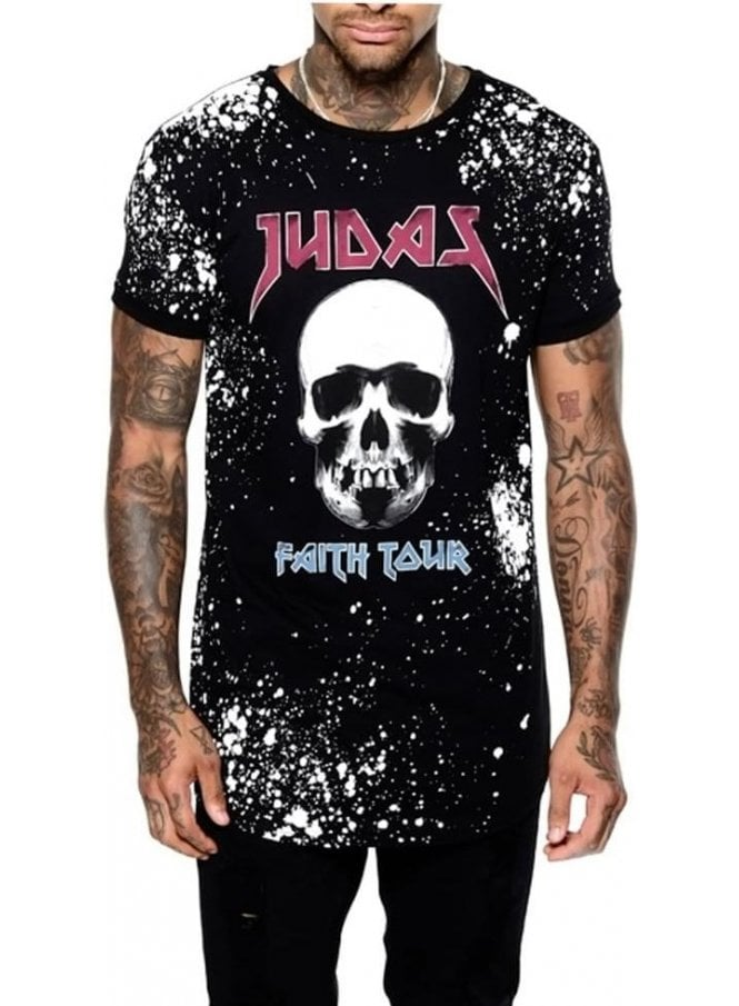 JUDAS SINNED Faith Tour Logo Branded Crew Neck Tsh Black