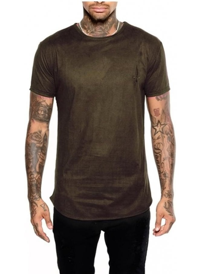 JUDAS SINNED Moleskin Crew Neck Suede Effect Jerse Dark Green