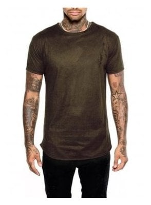Moleskin Crew Neck Suede Effect Jerse Dark Green