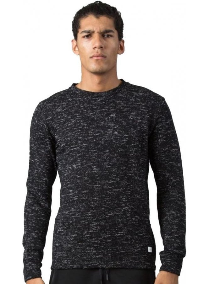 KING APPAREL Crew Neck Fleck Design Side Zip Detai Black