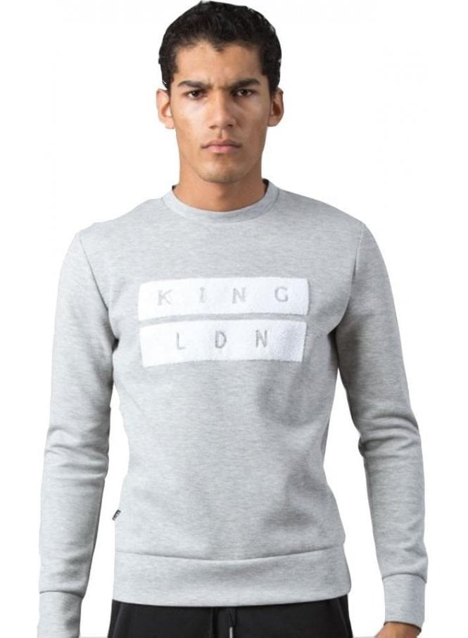 KING APPAREL Ldn Crew Neck Sweater Jumper Top Grey