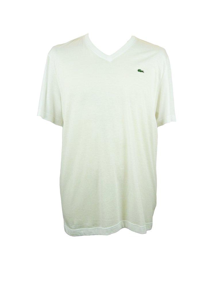 Lacoste lacoste white v neck t shirt lacoste from ghia for White t shirt v neck