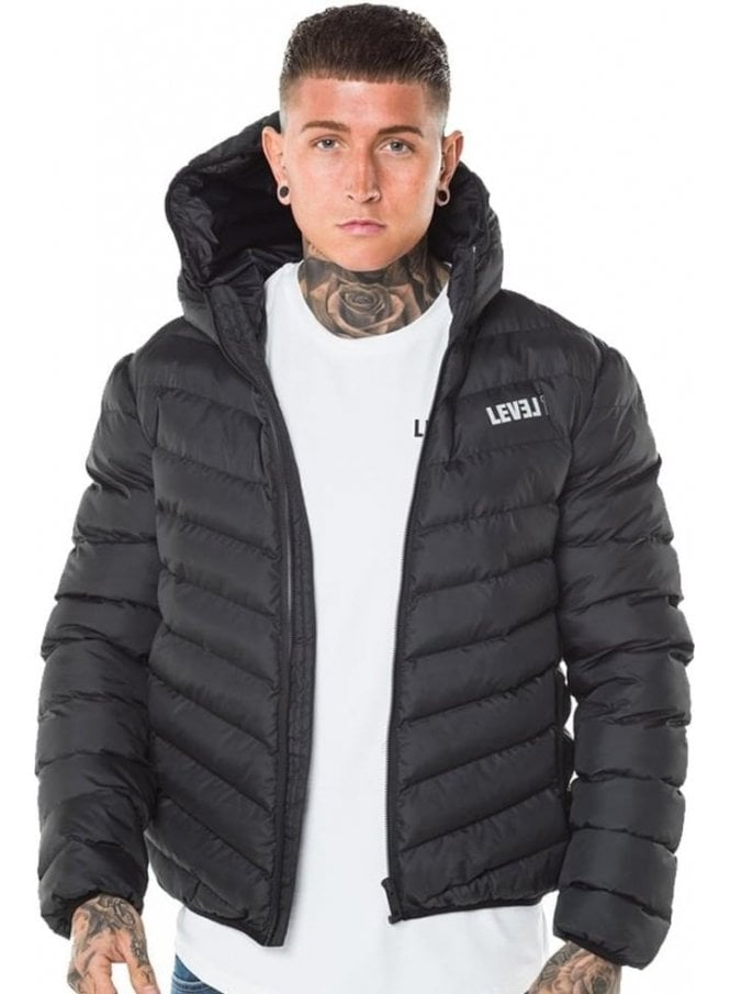 LEVEL 1 Puffa Hooded Jacket Black
