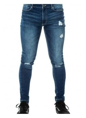 Rip And Repair Skinny Jean Mid Blue