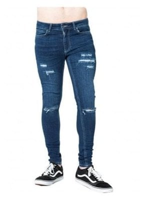 Ripped Skinny Denim Jean Indigo