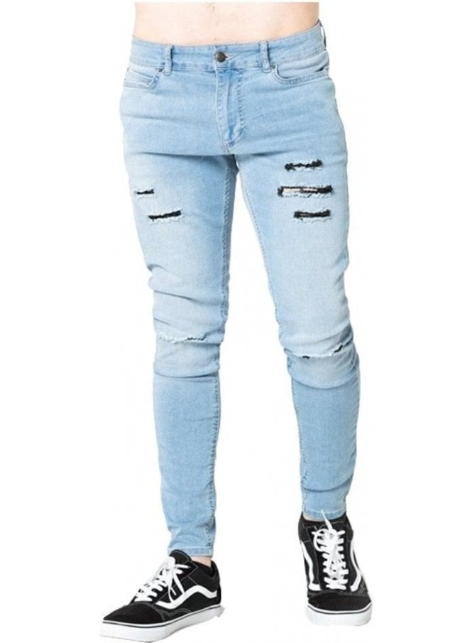 LEVEL 1 Ripped Skinny Denim Jean Stone