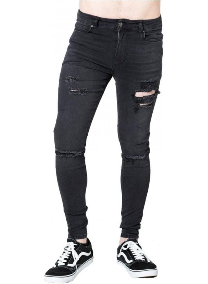LEVEL 1 Ripped Skinny Denim Jean Washed Black