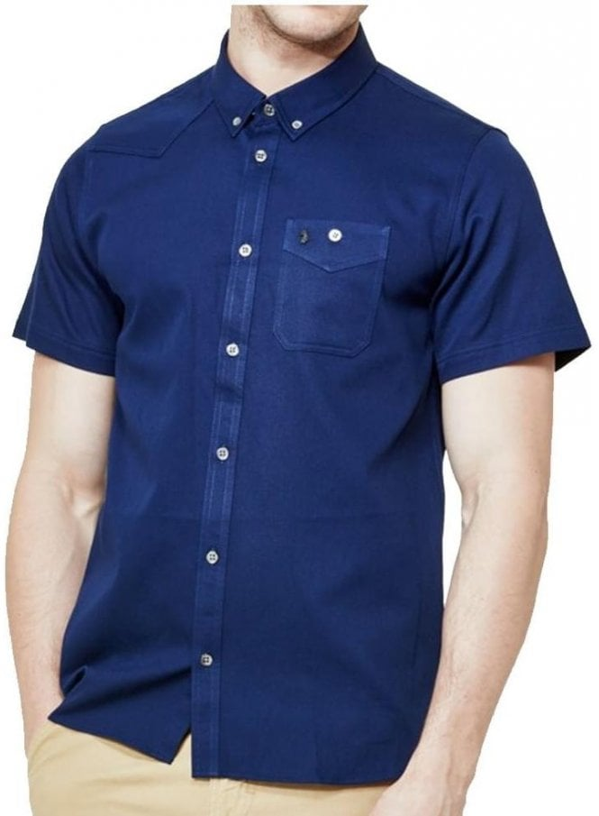 LUKE Adam Keyte S/s Baseball Collared Shirt Lux Navy