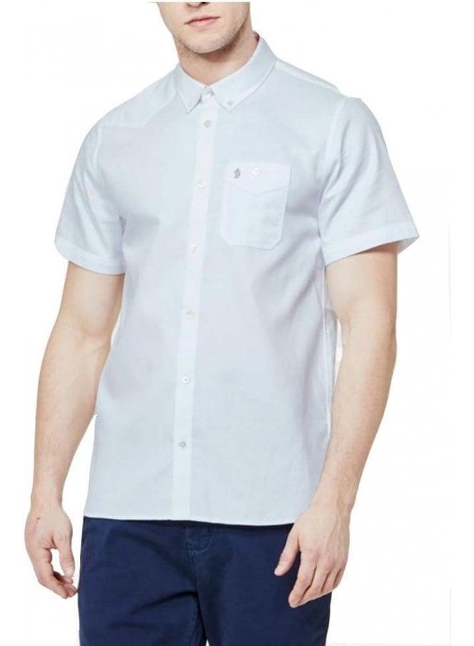 LUKE Adam Keyte S/s Baseball Collared Shirt White