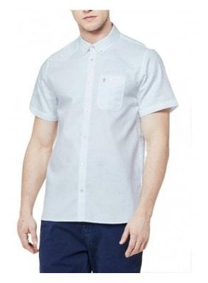 Adam Keyte S/s Baseball Collared Shirt White