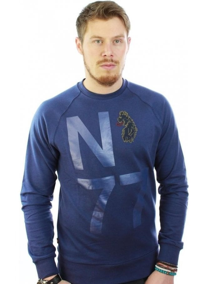 LUKE Ash Printed Detail Sweater Jumper Navy