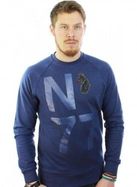 Ash Printed Detail Sweater Jumper Navy