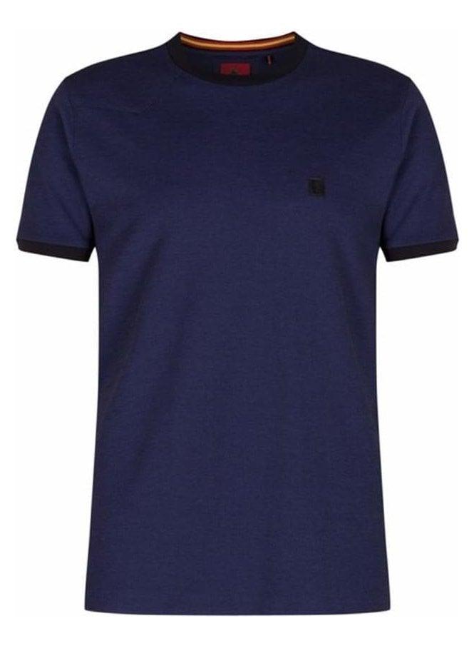 LUKE Barbs Collar Stripe Detail Crew Neck Tshirt Lux Midnight
