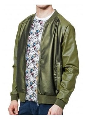 Caperwowme Mixed Fabric Bomber Jacket Lux Khaki
