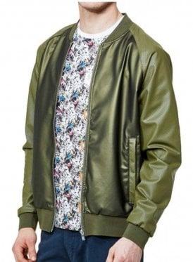 Caperwowme Mixed Fabric Bomber Jacket Lux Khaki