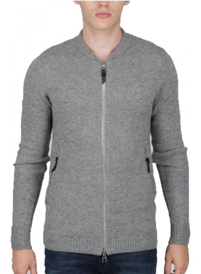 LUKE Clive Long Line Blouson Zip Chunky Knitwear Marl Grey