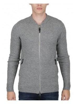 Clive Long Line Blouson Zip Chunky Knitwear Marl Grey