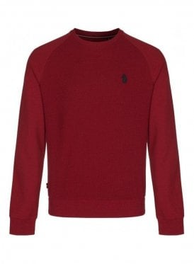 Guy Long Sleeve Waffle Crew Neck Jumper Red