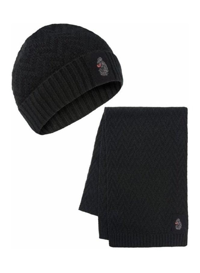 LUKE Liams Computer Knit Hat & Scarf Set Combinati Jet Black