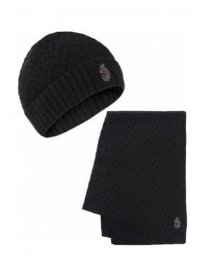 Liams Computer Knit Hat & Scarf Set Combinati Jet Black