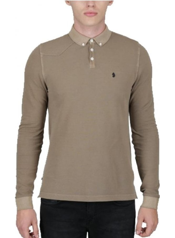 LUKE Long Basking Long Sleeved Polo Deep Sand