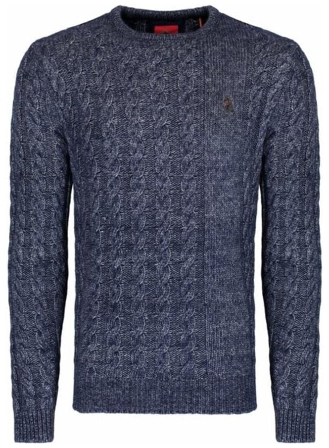 LUKE Newarton Cable Front Crew Neck Chunky Knitwea Lux Navy Mix