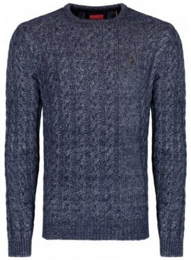 Newarton Cable Front Crew Neck Chunky Knitwea Lux Navy Mix
