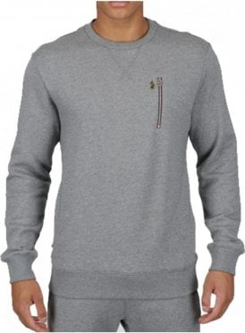 One A-one Sport Otm Crew Neck Zip Detail Swea Mid Grey Marl