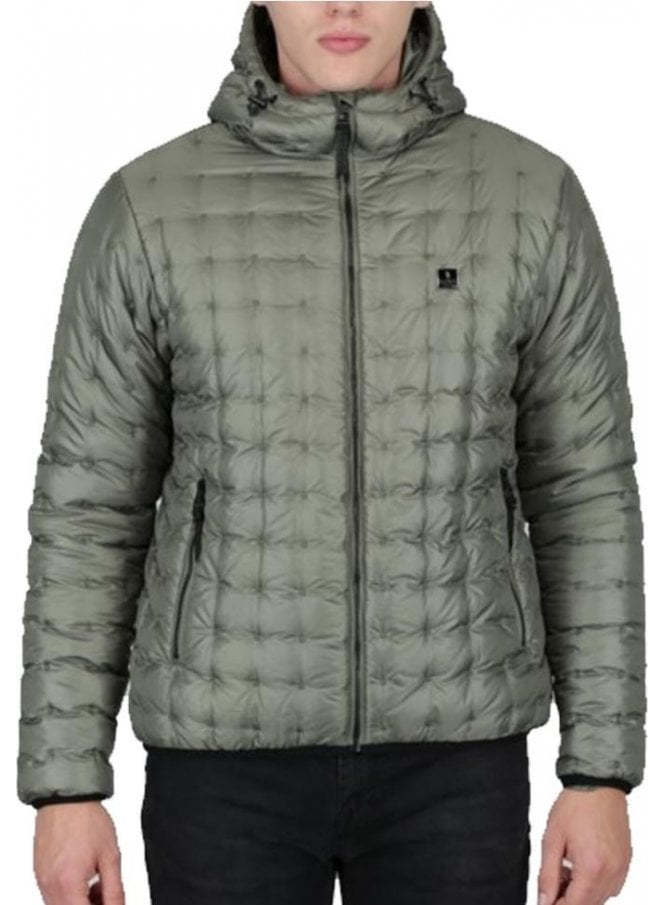 LUKE Paddie Spot Quilted Hooded Jacket Light Moss