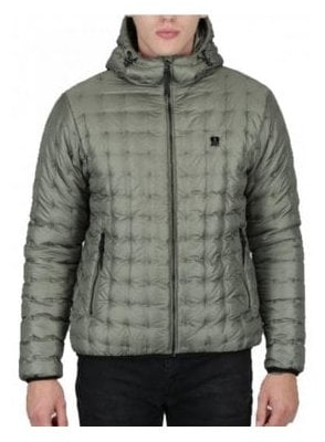 Paddie Spot Quilted Hooded Jacket Light Moss