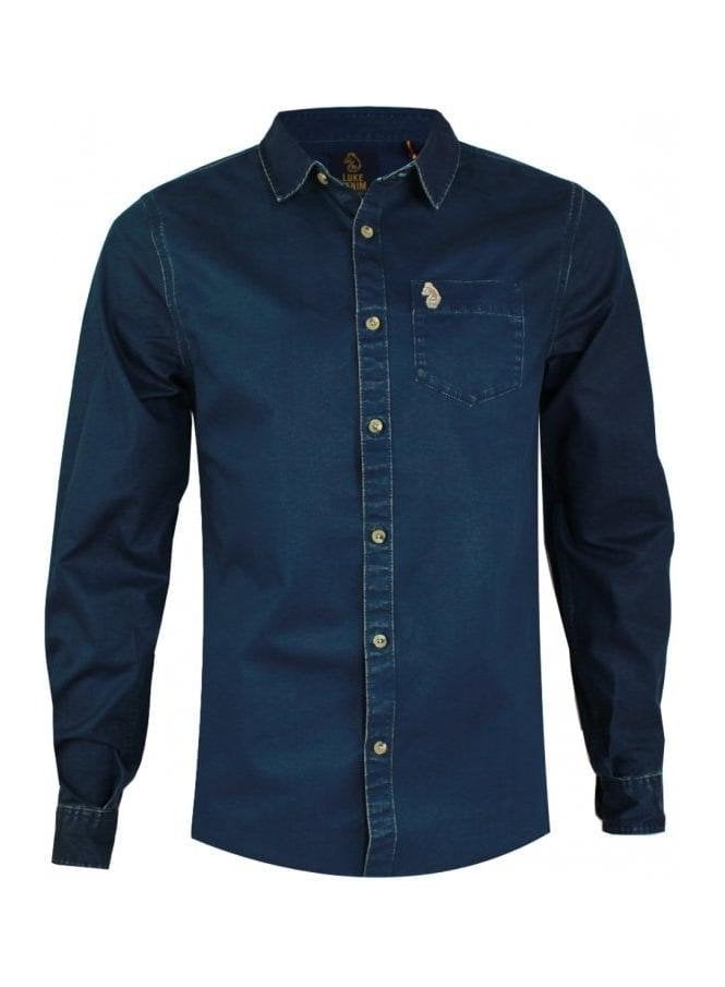 LUKE Partie Long Sleeve Denim Style Pocket Detail Indigo