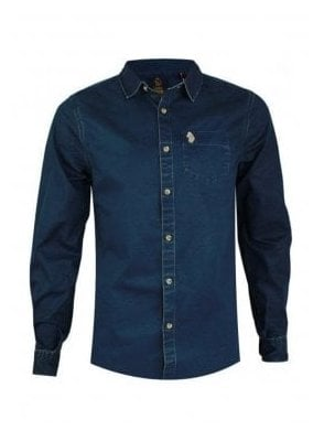 Partie Long Sleeve Denim Style Pocket Detail Indigo