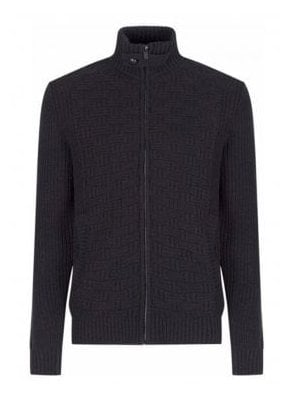 Pisteup Zip Through Roll Neck Knitwear Cardig Jet Black
