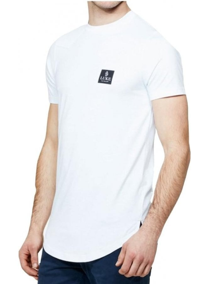 LUKE Slade S/s Long Line Crew Neck Tshirt White