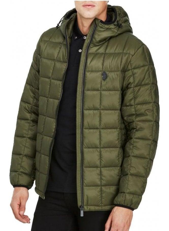 LUKE Southy Quilted Zip Puffa Jacket Khaki