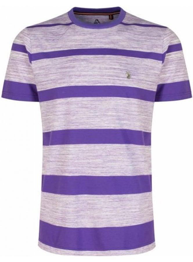 LUKE Space Cadet Striped Crew Neck Tshirt Pop Purple