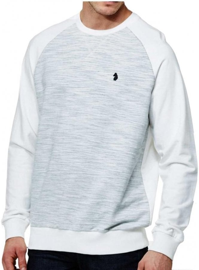 LUKE Spaced Guy Mixed Fabric Crew Neck Long Sleeve Marl Grey