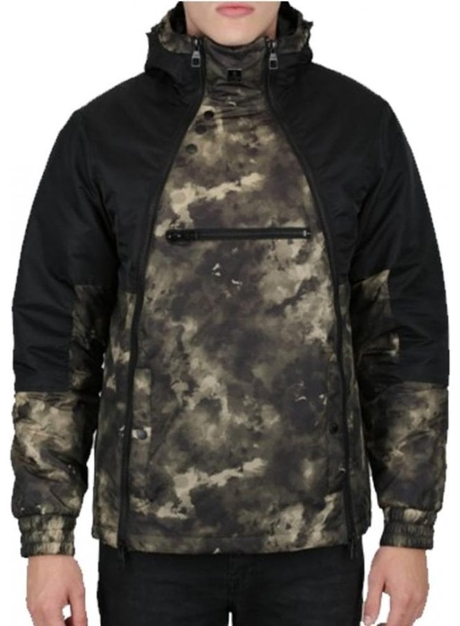 LUKE Turvey Camo Print Design Technical Jacket Jet Black