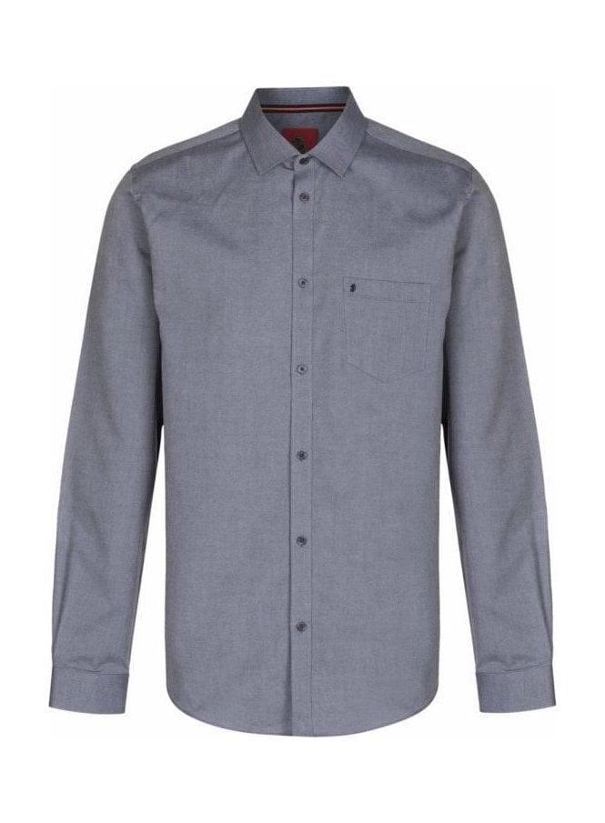 LUKE Two Eye Long Sleeve Pocket Detail Shirt Grey