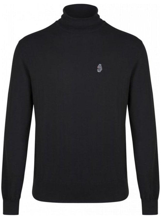 LUKE Wrightys Long Sleeved Polo Neck Jumper Black