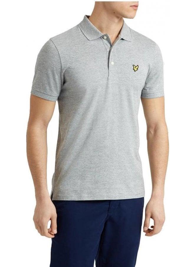 LYLE & SCOTT 3 Col Mouline Polo Shirt Light Grey