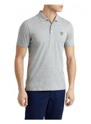 3 Col Mouline Polo Shirt Light Grey