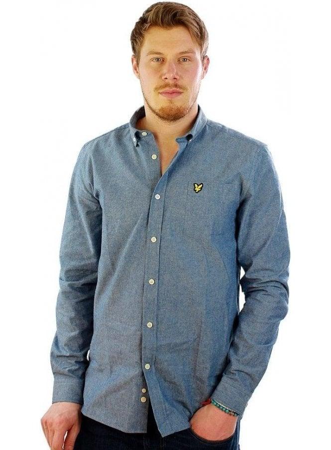 LYLE & SCOTT Chambray Long Sleeve Shirt Dark Chambray