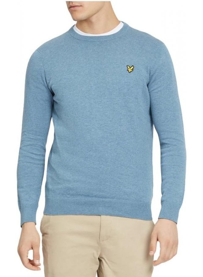 LYLE & SCOTT Cotton Crew Neck Jumper Mist Blue Marl